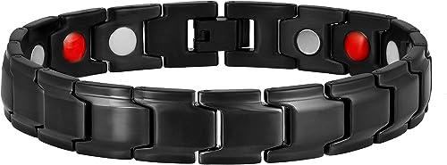 Moneekar Jewels 5 in 1 Stainless Steel 300 Gauss Magnetic Therapy Bracelet for Men