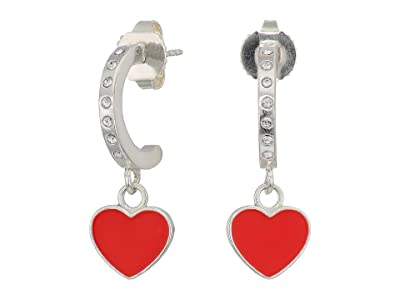 Alex and Ani Color Infusion Heart Huggie Hoop Earrings (Silver) Earring