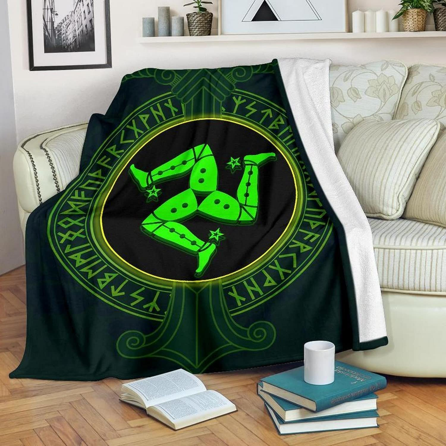 Isle Of Man Large discharge sale Coat Arm Patrick'S Supe famous Blanket Throw Day Flannel