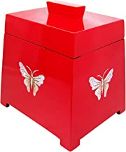 Red lacquer wooden trapezium jewelry box inlaid with eggshell butterfly- 7 inches