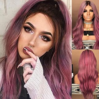 Women Long Curly Straight Wavy Synthetic Full Hair Wig Black Purple Cosplay