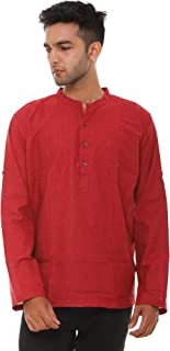 EASY 2 WEAR Men's Solid Loose fit Casual Shirt (E2WGSK00001-Parent_red_3XL)