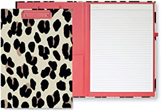 Kate Spade New York Leopard Print Clipboard Folio with Low Profile Clip, Professional Padfolio Includes Lined Notepad, Pen Loop, and Pocket, Forest Feline