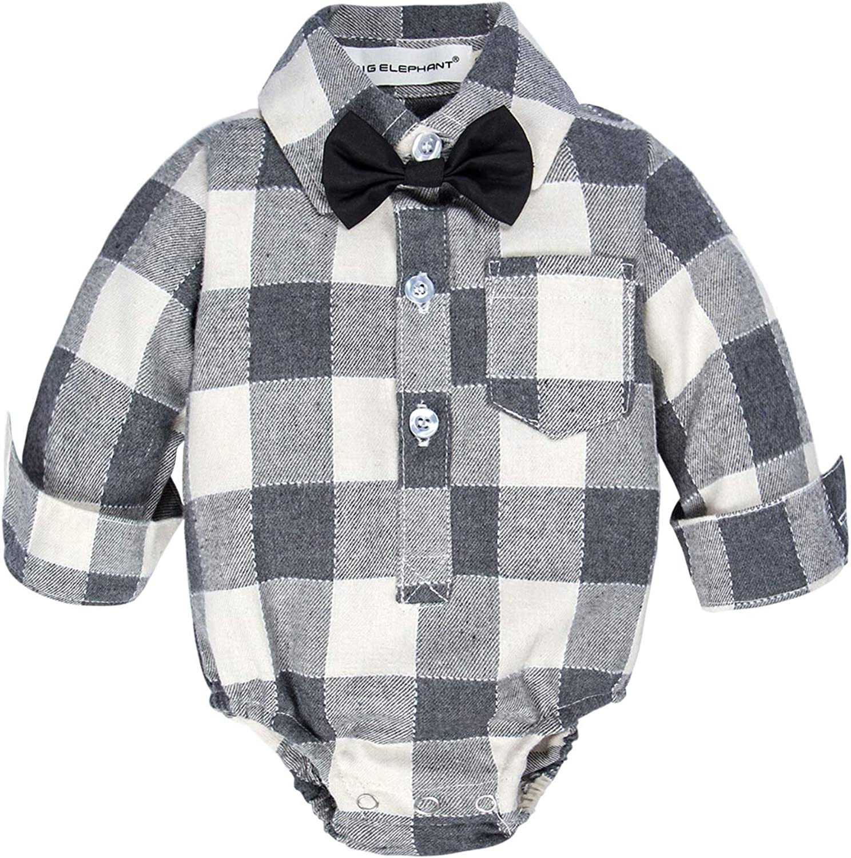 BIG ELEPHANT Baby Boys Plaid Button Down Shirt,Dress Shirt with Bowtie