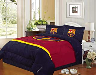 FCBarcelona Queen Size 4pc Comforter Set, Navy