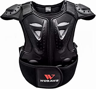 WOSAWE Kids Balance Bike Cycling Body Armour Vest Snowboarding Training Bicycle Chest Spine Protector, Ages 4 to 14