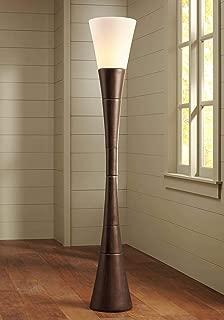 Modern Torchiere Floor Lamp Urban Coffee Wood White Glass Shade Floor Dimmer for Living Room Bedroom Uplight - Possini Euro Design
