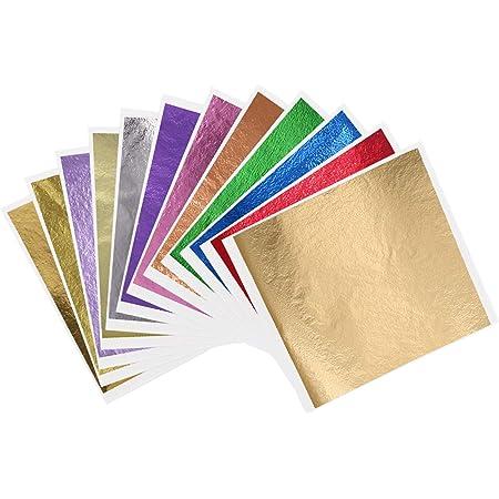 KINNO Gold Leaf 12 Feuilles de Papier Doré Imitation or Multicolore Feuille d'or - 600 Pièces pour la Décoration Artistique, L'artisanat, la Dorure, les Meubles, les Ongles 8 x 8,5 cm