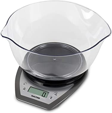Salter Kitchen Scale Electronic Kitchen Scales with Mixing Bowl, Black, 1024SVDR14
