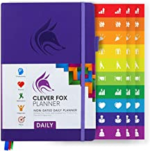 Clever Fox Planner Daily - Best Agenda & Daily Calendar to Boost Productivity, Happiness & Hit Your Goals in 2019 - Gratitude Journal Personal Daily Organizer - 5 x 8'' Undated, Purple (Daily)