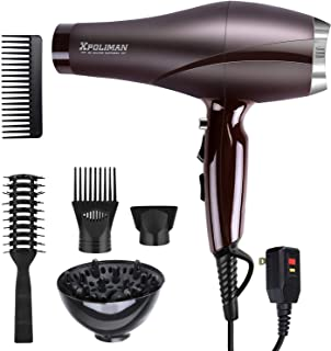 2000 Watt Hair Dryers, Xpoliman Professional Salon Hair Dryer with AC Motor, Negative Ionic Blow Dryer with Diffuser Conce...