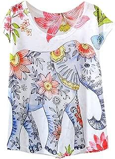 Women's Graphic Elephant Print Short Sleeve Casual Tee Shirt Tops
