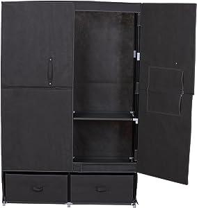 WOLTU SS5023gr-1 Kleiderschrank Stoff mit Flügeltür, Garderobenschrank Faltschrank, Stoffkleiderschrank mit Kleiderstange, Grau, 110x46x167 cm
