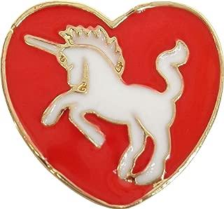Brand New Red and White Unicorn Heart Enamel Lapel Pin
