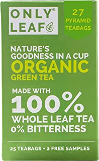 ONLYLEAF Organic Green Tea for Weight Loss, Made with 100% Whole Leaf, Sourced from Highlands of Darjeeling, 27 Pyramid Te...
