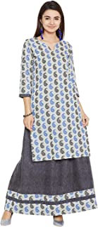 Agroha Women's Cotton Kurta Skirt Set