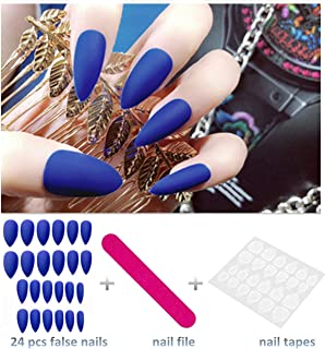 editTime 24PCS Solid Colors Acrylic Stiletto False Nails Full Cover Fake Nails Tips Natural Long Claw Nails (Matte blue)