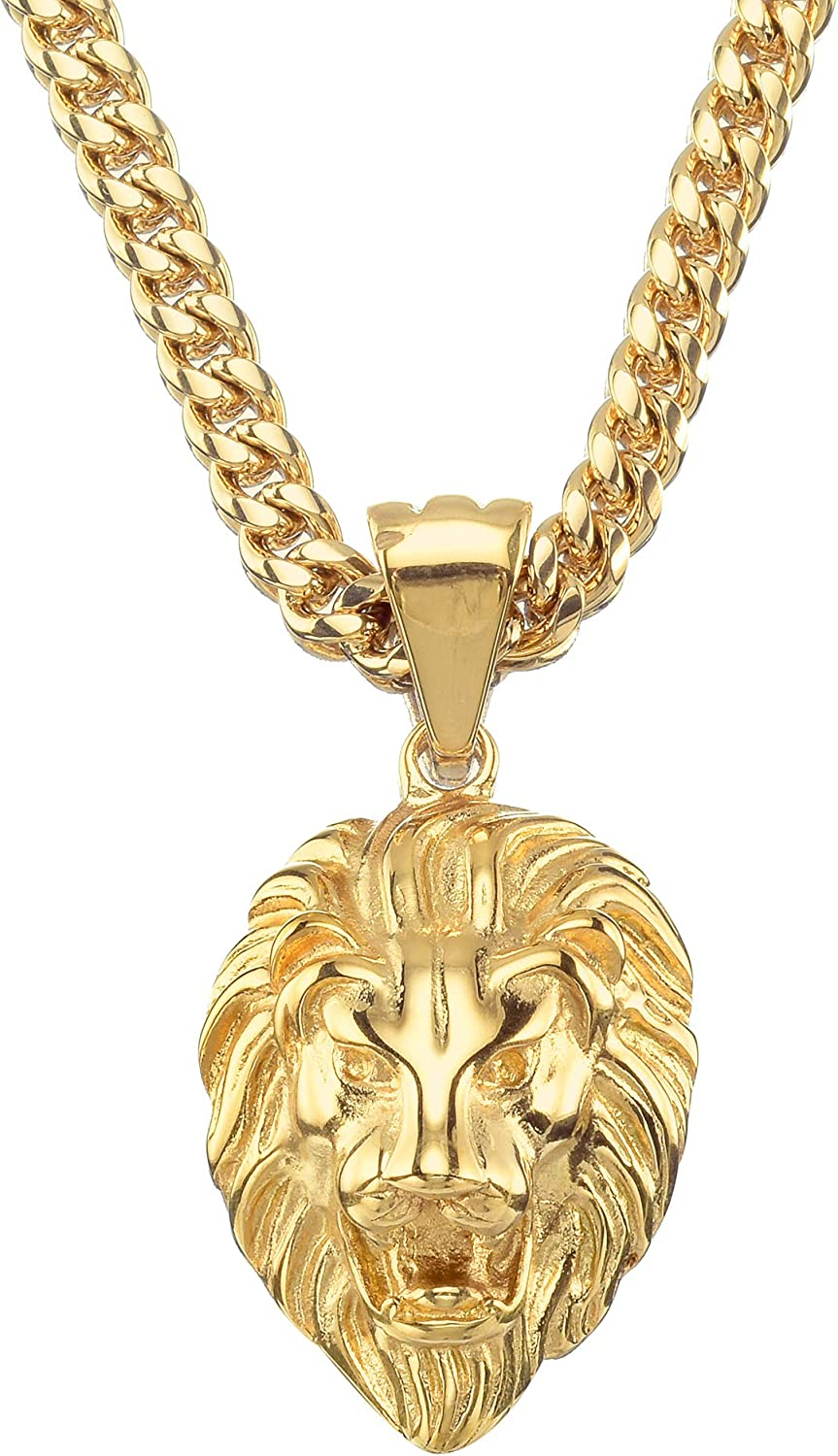 W/W Lifetime Lion Necklace 18K Gold Stainless Steel Head Pendant Necklace Mens Hip Hop Rapper With 16MM Miami Stainless Steel Cuban Link Chain 24inches