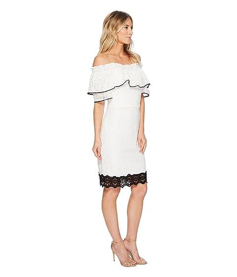 Hilda vestido blanco negro Rae hombros descubiertos con Adelyn gBFxwqP5g