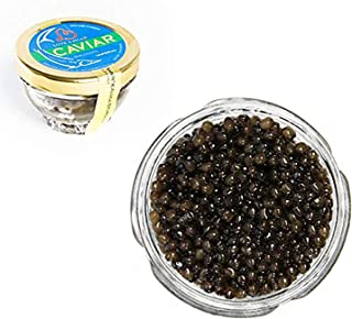 Kaluga Sturgeon Amber Caviar Huso Dauricus River Beluga 1.75 oz / 50 gr Jar w/Mother of Pearl Caviar Spoon Royal Gourmet Imperial Kaluga Caviar Light-Salted Farm Raised OVERNIGHT SHIPPING by Stradiva