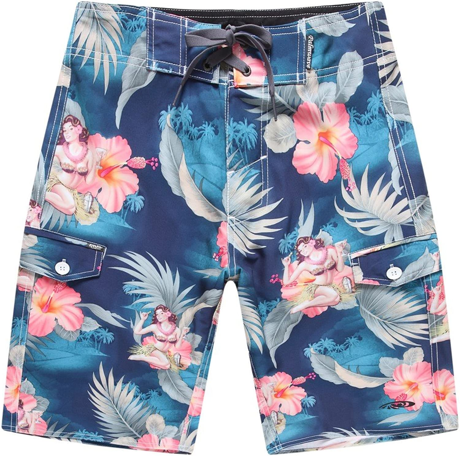 Palm Wave Men's Beach Wear Board Shorts with Pocket in blueee Hula Girl Cocktail