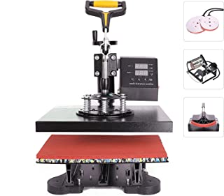 CO-Z 110V Heat Press 360 Degree Swivel Heat Press Machine Multifunction Sublimation Combo T Shirt Press Machine for Mug Hat Plate Cap Mouse Pad (12x10 inches 5 in 1 Intelligent Audible Alarm)