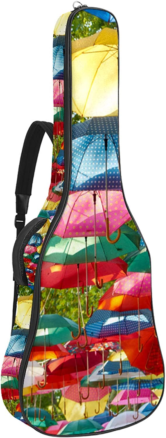 Colorful Umbrella Print Guitar Cheap sale Gig Waterp Bag Padded Year-end annual account Case