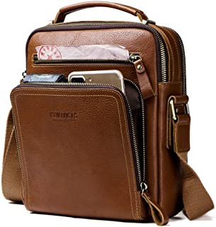 Contacts Real Leather Mens iPad Mini Tab Messenger Crossbody Tote Bag Handbag Brown