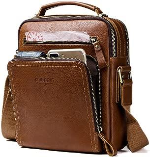 Contacts Real Leather Mens iPad Mini Tab Messenger Crossbody Tote Bag Handbag Brown