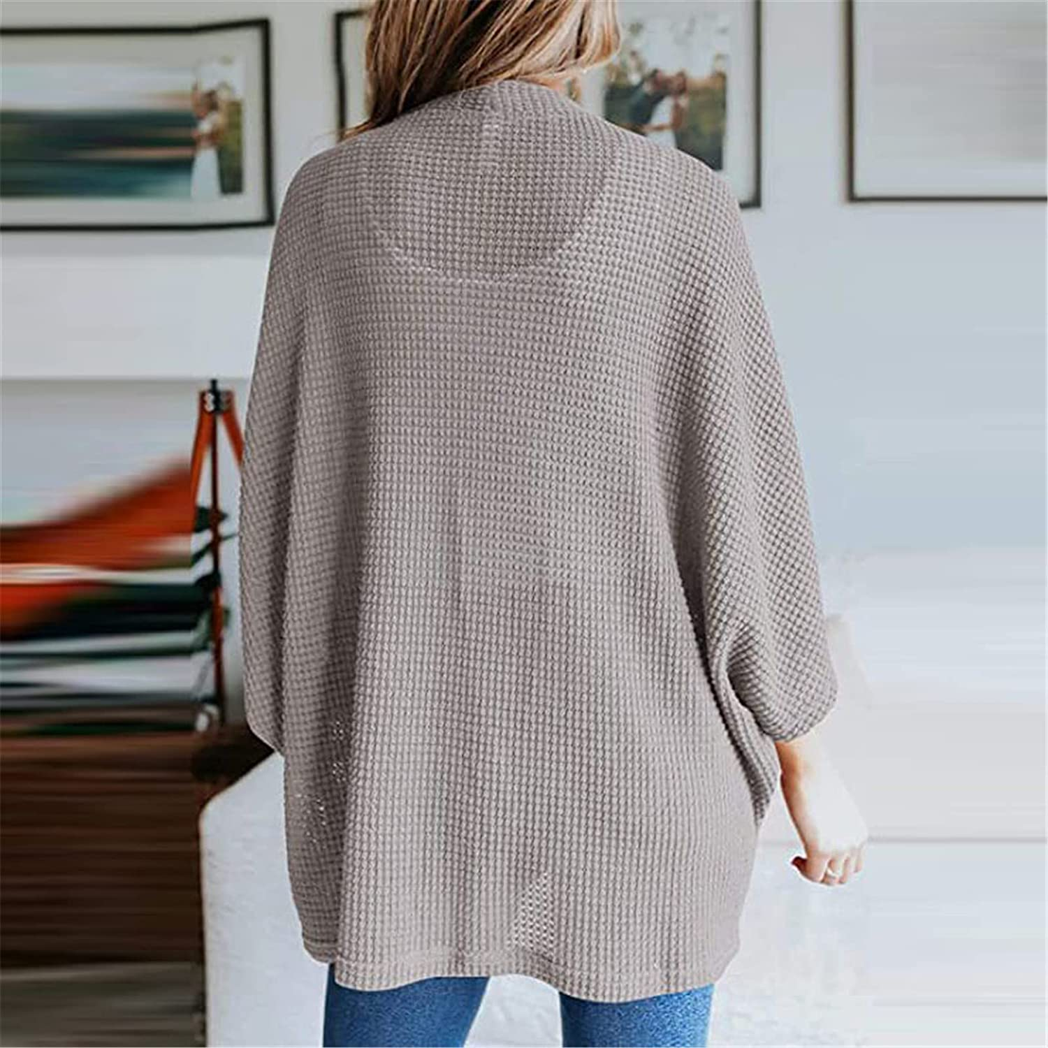 JABROCT Women's Bat Sleeve Solid Color Cardigans Sweaters,Stripe Knitted Sweater Outwear,Chunky Knitted Pullover Sweater