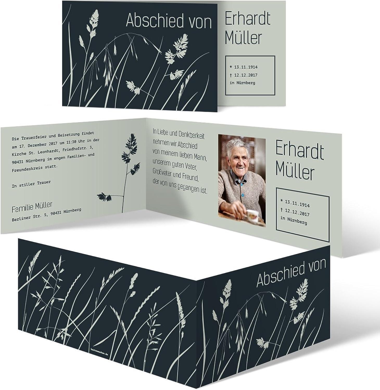 Individuelle Trauerkarten (50 Stück) Einladung Trauerfeier Trauerfeier Trauerfeier Karten - WiesenBlaume B073S4Y7ZY   Neues Design  7d4fbb