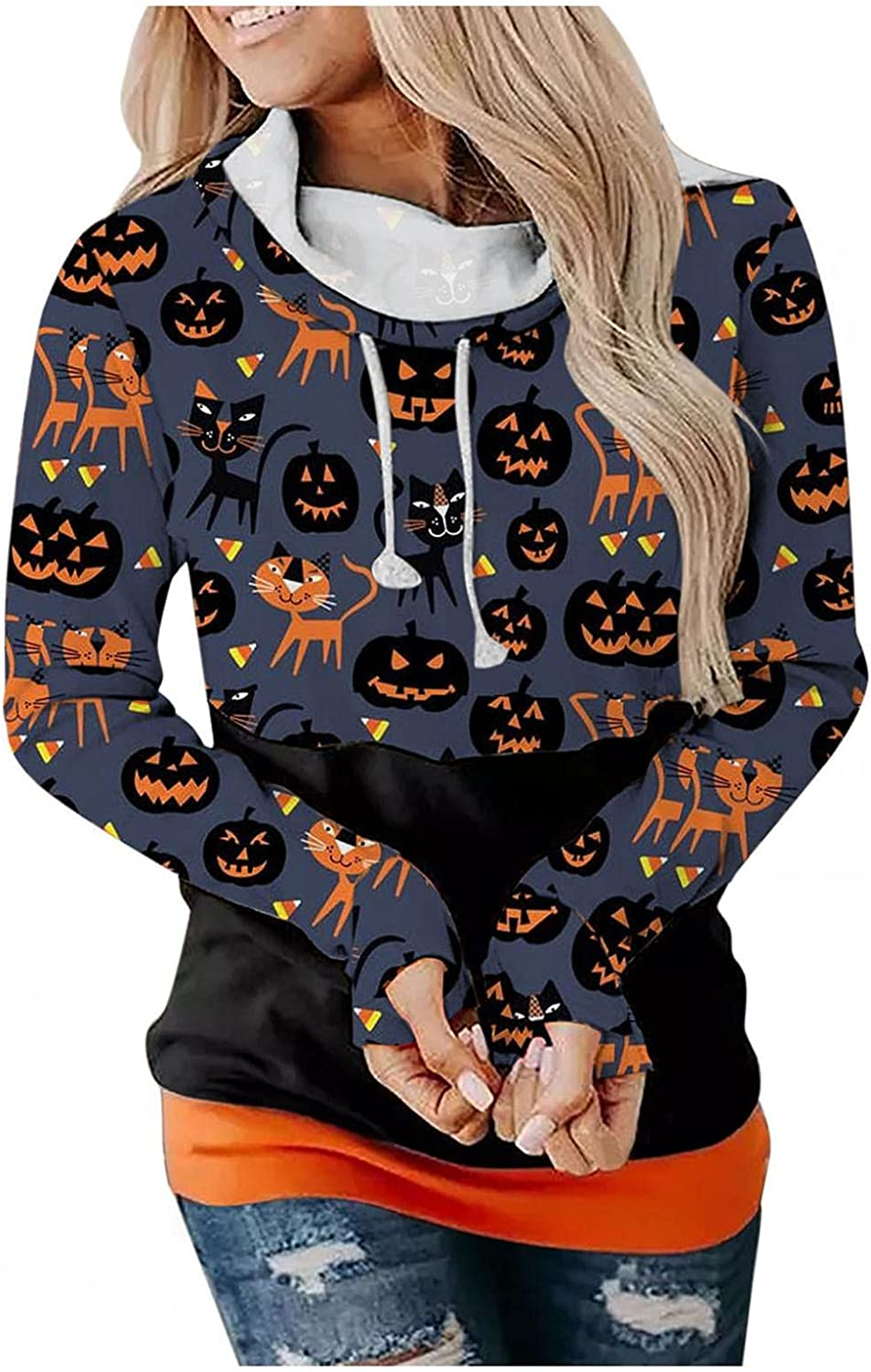 Gerichy Hoodies for Women,Women's Halloween Graphic Hoodies Pullover Fall Casual Hooded Sweatshirts Tunics Sweaters Tops