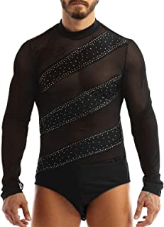 iiniim Men's Long Sleeves Latin Dance Shirt Unitard Sheer Mesh Spliced Bodysuit Dancewear