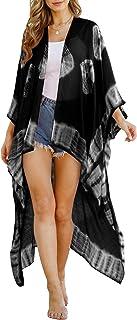 Tie Dye Print Long Kimono Beach Cover Up, Bohemian Open Front Lightweight Cardigan for Women