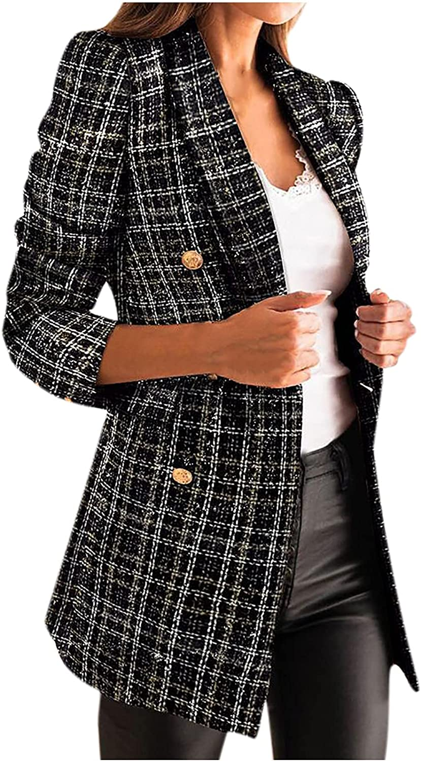 Kanzd Blazers for Women Women's Blazer Plaid Open Discount mail order Limited Special Price Fashion Front