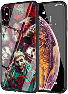 YZSGP AA-242 Pennywise The Clown Horror Phone Case for iPhone Xs Max, Tempered Glass Back Cover with 360 Degree Full Strong Protection