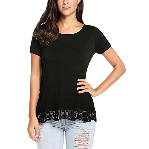 e010cc329b81 Kancystore Womens Short Sleeve Loose Tops Solid Basic Patchwork Lace Trim Casual  T Shirts Plus Size