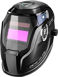 DEKOPRO Solar Powered Welding Helmet Auto Darkening Hood with Adjustable Wide Shade Range 4/9-13 for Mig Tig Arc Welder Mask