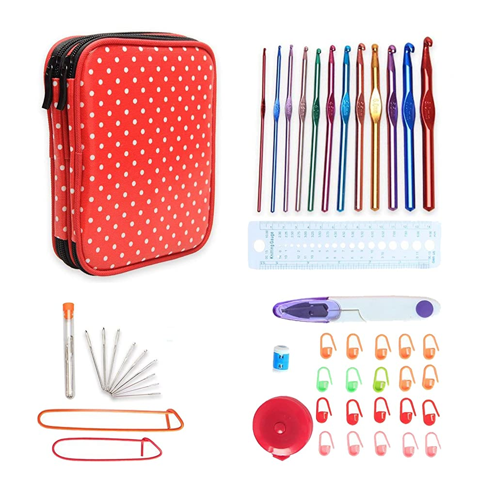 Teamoy Aluminum Crochet Hooks Set, Knitting Needle Kit, Organizer Carrying Case with 12pcs 2mm to 8mm Hooks and Complete Accessories, All in One Place and Easy to Carry, Red Dots