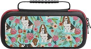 Sweet Basset Hound Florals Home Nintendo Switch用スイッチキャリングケース、20ゲームカートリッジ付き保護ハードシェルトラベルNintendo Switchコンソールおよびアクセサリ用キャリングケー...