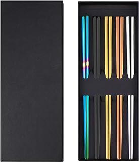Homgaty 5 pares de palillos chinos de acero inoxidable con caja de regalo, palillos chinos de metal aptos para lavavajillas, palillos reutilizables – anticalor