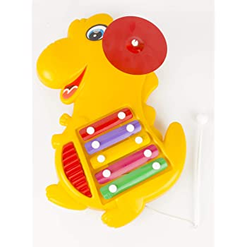 Prime Dino Xylophone 4 in 1 Musical Toy & Pull Along Toy for Children with 5 Notes, Guiro and Cymbal