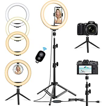 10.2'' Selfie Ring Light with Tripod Stand & Phone Holder - Upgraded Dimmable Camera Ring Light with Makeup Mirror for TikTok/YouTube/Live Stream/Makeup/Photography Compatible with iPhone Android