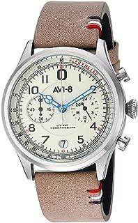 AVI-8 Men's Flyboy Lafayette Stainless Steel Japanese-Quartz Aviator Watch with Leather Strap, Grey, 22 (Model: AV-4054-01)
