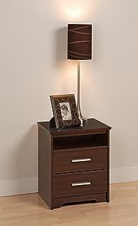 Prepac Coal Harbor 2 Drawer Tall Nightstand With Open Shelf, Espresso