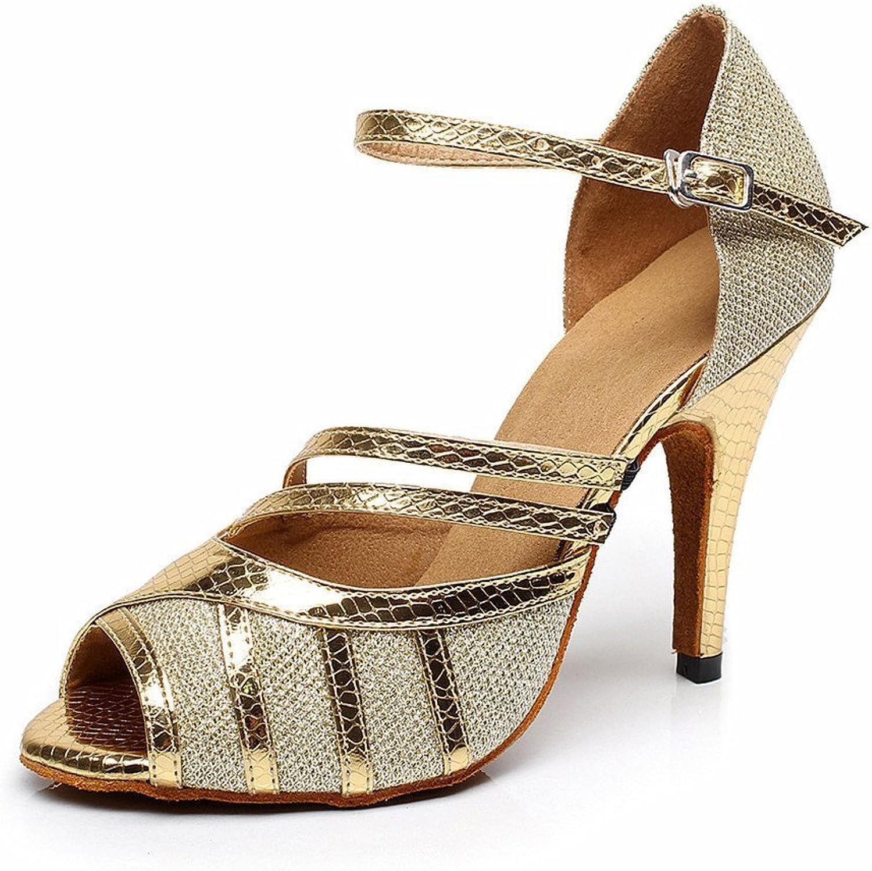 BCLN Womens Open Toe Sandals Latin Salsa Tango Heels Practice Ballroom Dance shoes with 3.9  Heel gold