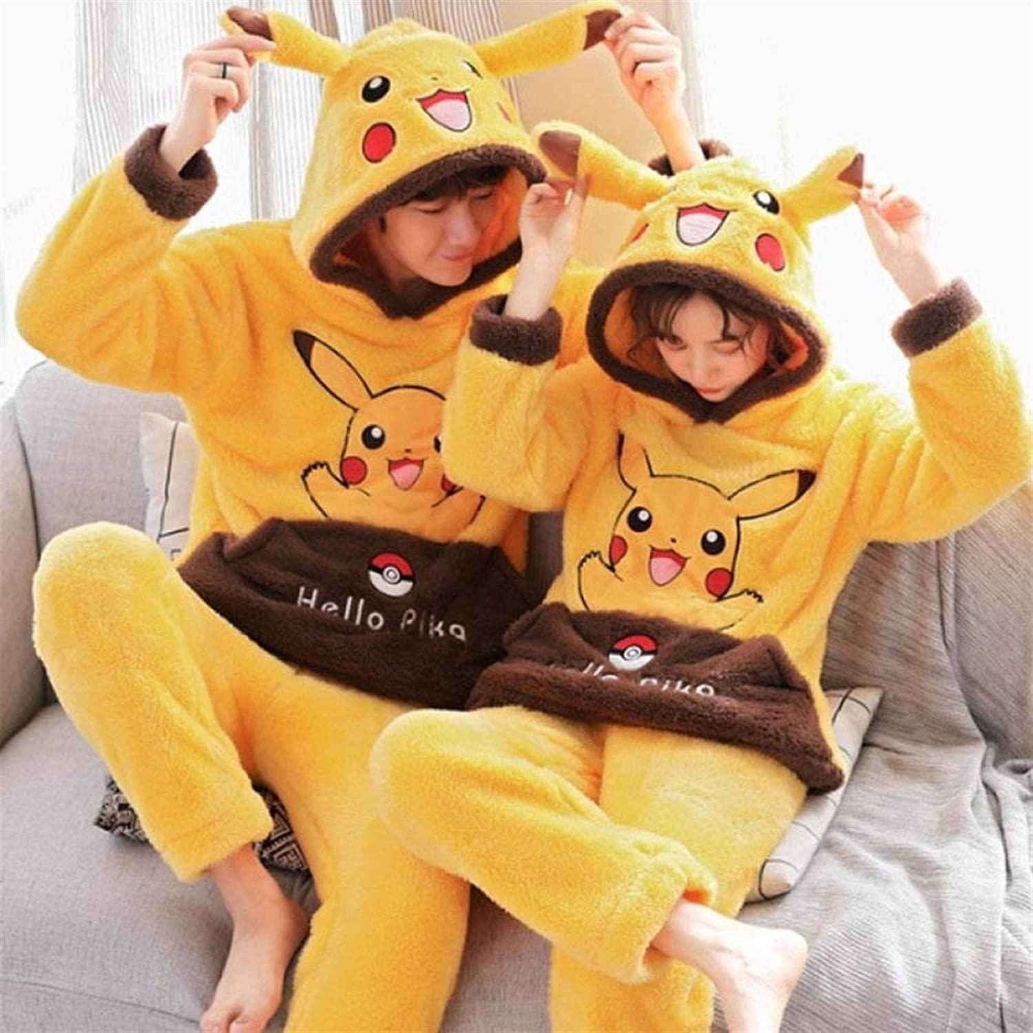 Bayue Christmas Party Unisex Adult Home Clothes Thicken Warm Winter Sleepwear Couples Pajamas Hooded Cute Cartoon Large Size Pijama Zhaozb (Color : Pikachu, Size : Men XXXXL)