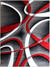 Masada Rugs, Sophia Collection Hand Carved Area Rug Modern Contemporary Red White Grey Black (5 Feet 3 Inch X 7 Feet)