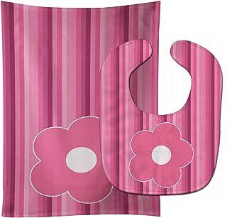 Caroline's Treasures Pink Flower on Stripes Baby Bib & Burp Cloth, Multicolor, Large