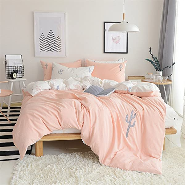 PinkMemory King Cactus Duvet Cover Washed Cotton Cactus Bedding Set Pink Ultra Comfy Embroidered Cactus Design Reversible Peach White Bedding Duvet Cover Set